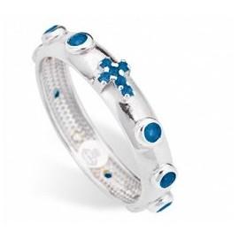 Anello Rosario in argento Liscio blu