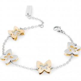 Bracciale S'agapò butterfly con farfalle acciaio e pvd oro