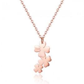 Collana donna S'Agapò collezione Trio a quadrifoglio rosato