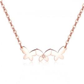 Collana S'Agapò collezione Trio a farfalla rosato con cristallo