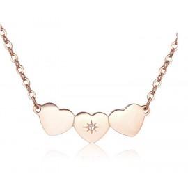 Collana S'Agapò collezione Trio a cuore rosato con cristallo
