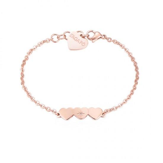 Bracciale S'Agapò collezione Trio a cuore rosato con cristallo
