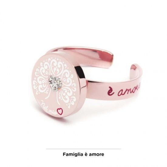 Anello rosè Marlù con Albero dei Valori 12 mm in acciaio