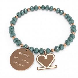 """bracciale 10 buoni propositi cry """"non c'è due senza te"""" rose/emerald"""