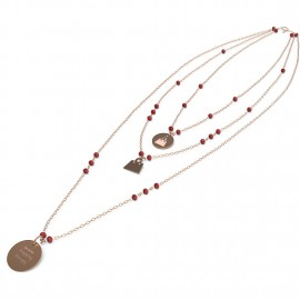 "collana 10 buoni propositi cry ""shopping therapy"" rose/ruby"