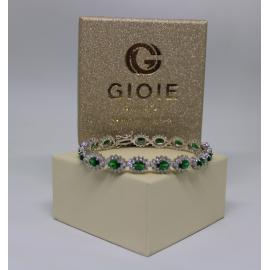 Bracciale donna in argento pietre smeraldo