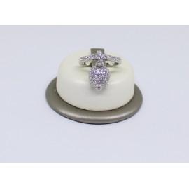 Anello campanella pavè con zirconi bianca