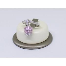 Anello campanella pavè con zirconi rosa