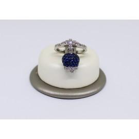 Anello campanella pavè con zirconi blu