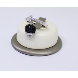 Anello campanella pavè con zirconi nero