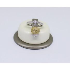 Anello campanella pavè con zirconi giallo