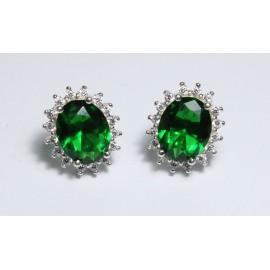 Orecchini Regina Elisabetta in argento 925/1000 Smeraldo