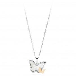 Collana donna S'Agapo Whisper farfalla acciaio e pvd oro